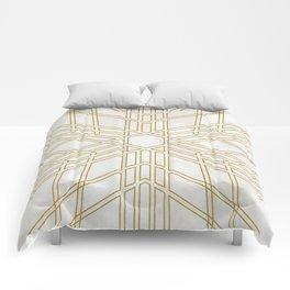 Golden stars on cream marble Comforters