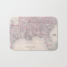Vintage Map of The Southern United States (1868) Bath Mat