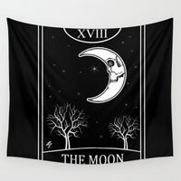 tarot Wall Tapestries featuring The Moon Tarot Card by Natasha Sines