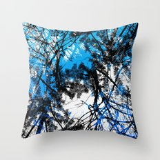 Blue tree pillow one Throw Pillow