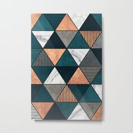 Copper, Marble and Concrete Triangles 2 with Blue Metal Print