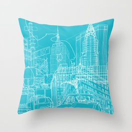 New York! Blueprint Throw Pillow