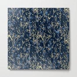 Wildflowers Silhouettes on Dark Blue Floral Pattern Metal Print