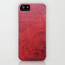 Antique Book Cover * Book Lovers * Literacy Art * Anderson's Fairy Tales * Red * Black iPhone Case