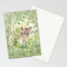 Leopard cub amongst the jungle palm leaves Stationery Cards