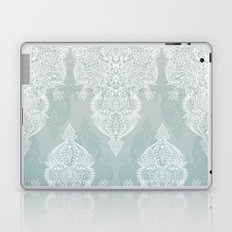 Lace & Shadows - soft sage grey & white Moroccan doodle Laptop & iPad Skin