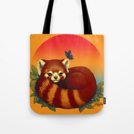 Red Panda Has Blue Butterfly Friend Tote Bag