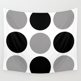 Mid Century Modern Polka Dot Pattern 9 Black and Gray Wall Tapestry