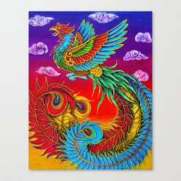 Colorful Fenghuang Chinese Phoenix Rainbow Bird Canvas Print