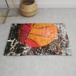 Basketball art swoosh vs 15 Rug