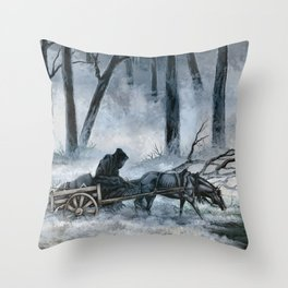 Grim Reaper with Horse in the Woods Throw Pillow