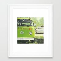 vw bus Framed Art Prints featuring VW Bus by LisaRCain