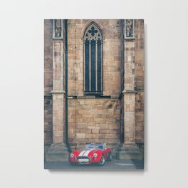 Red sportscar at a gothic cathedral wall Metal Print