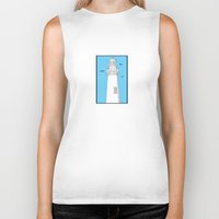 lighthouse Biker Tanks featuring Lighthouse by Janko Illustration