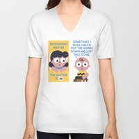 psychology V-neck T-shirts featuring Muted Affection by David Olenick