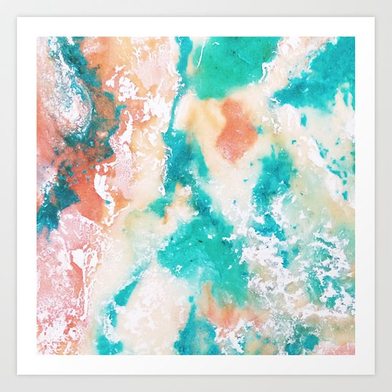 Sea Foam and Pink Abstract Art Print