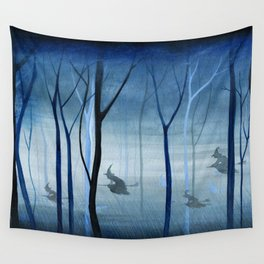 Witches Flying Low Through the Woods Wall Tapestry