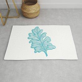 Crosshatching Dusty Miller Leaf Illustration Rug