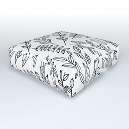 Simple Black And White Outline Botanical Leaves Toss Pattern Outdoor Floor Cushion