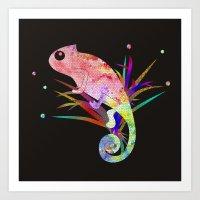chameleon Art Prints featuring Chameleon by My Studio