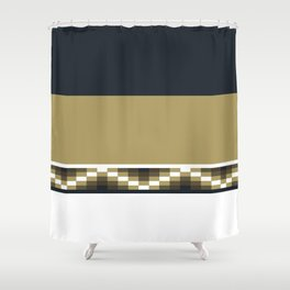 Block Wave Illustration 2 Thick Bold Horizontal Lines Digital Artwork Shower Curtain