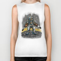 texas Biker Tanks featuring Texas Chainsaw Astronaut by Nick Volkert
