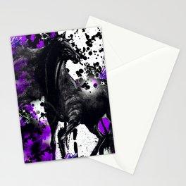 HORSE BLACK AND PURPLE THUNDER INK SPLASH Stationery Cards