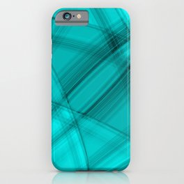 Angular strokes with aquamarine diagonal lines from intersecting bright stripes of light.  iPhone Case