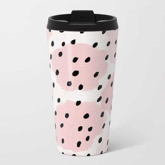 Pink Dots Pattern Metal Travel Mug