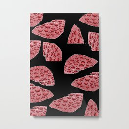 Red Raindrops abstract pieces design against black background Metal Print