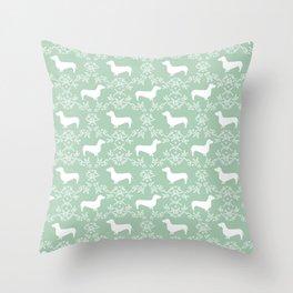 Dachshund mint florals pet portrait dog art dachsie doxie pet art dog breeds Throw Pillow
