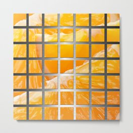 Orange Slices & Square Grid Collage Metallic Metal Print