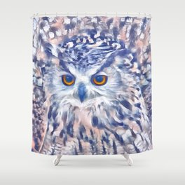 Fluffy owl Shower Curtain