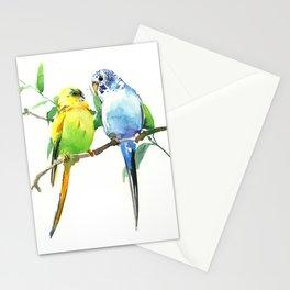Budgies, Animal art, love, two birds bird artwork, bird pet Stationery Cards