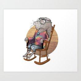 Hippie Bunny Art Print