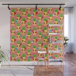 Happy Kawaii Cute Pineapples on Pink Wall Mural