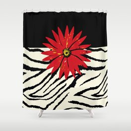 Animal Print Zebra Black and White and Red flower Medallion Shower Curtain
