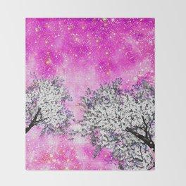 NEBULA  DREAMS TREES  PINK Throw Blanket