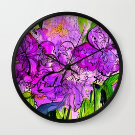 Summer Peonies Wall Clock