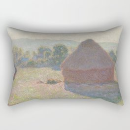Meules, milieu du jour [Haystacks, midday] Rectangular Pillow