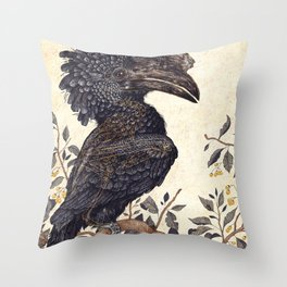 Silvery Cheeked Hornbill Throw Pillow