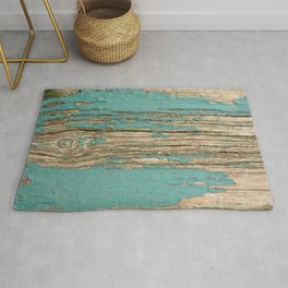 Rustic Wood Ages Gracefully - Beautiful Weathered Wooden Plank - knotty wood weathered turquoise pai Rug