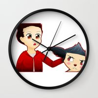 sterek Wall Clocks featuring Sterek Chibi by LK17