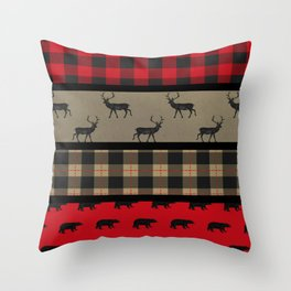 Rustic Woodland Plaid Throw Pillow