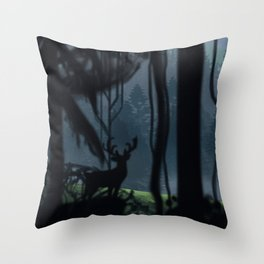 Viking Village in the Forest Throw Pillow