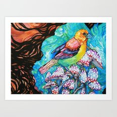 birds and mushrooms Art Print