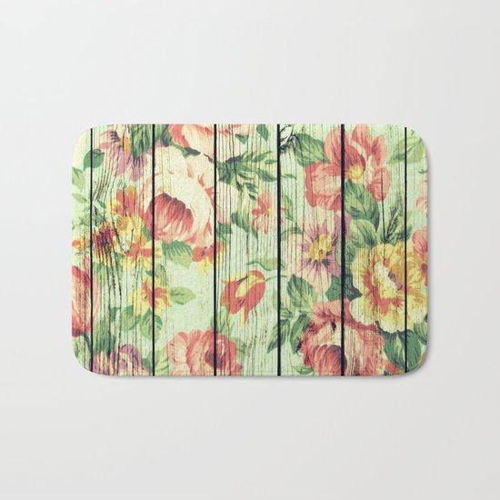 Flowers on Wood 05 Bath Mat