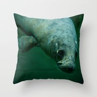 manatee Throw Pillows featuring Manatee by Mariana's ART