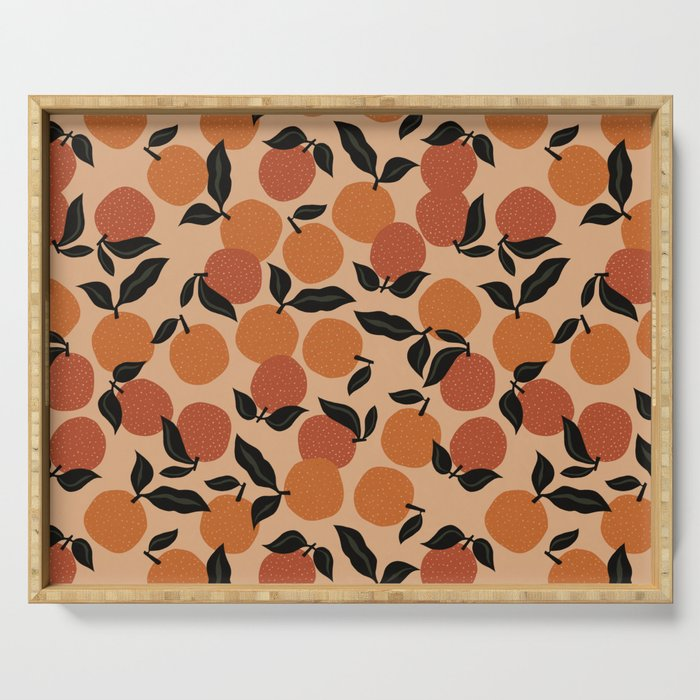 Seamless Citrus Pattern / Oranges Serving Tray