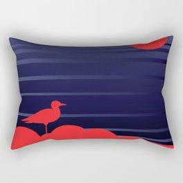 Simple Graphic Bird and Moon Rectangular Pillow